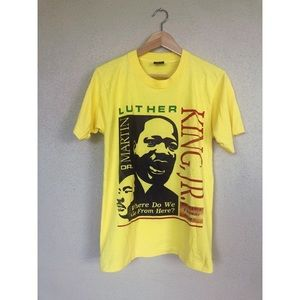MARTIN LUTHER KING yellow graphic t shirt top tee